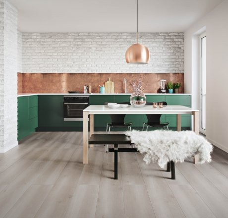 wineo 500 Laminatboden Küche Smooth Oak Grey LA168L4