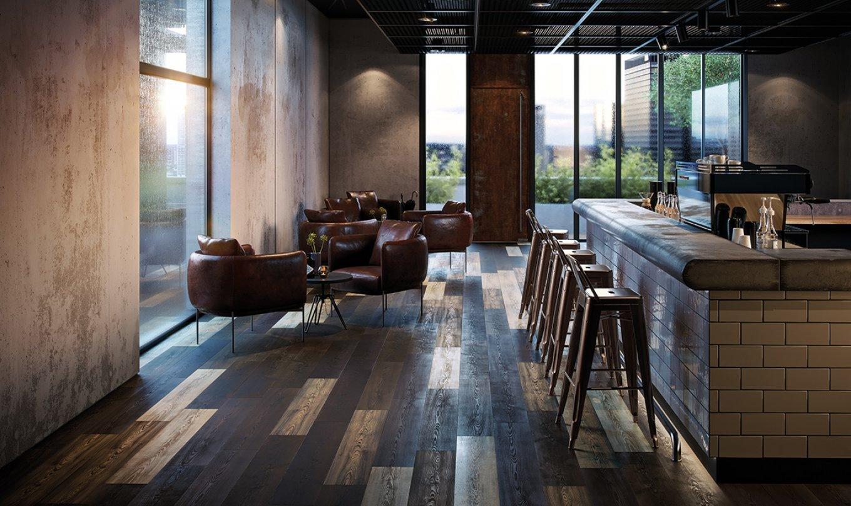 Restaurant Bar elastischer Bodenbelag Holzboden Eiche Rustikal